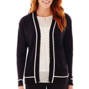 Liz Claiborne® Long-Sleeve Open-Front Tipped Cardigan Sweater