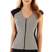 Liz Claiborne® Sleeveless Mixed-Media Knit Top