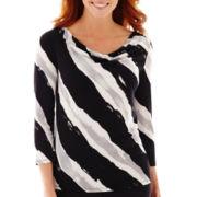 Liz Claiborne® 3/4-Sleeve Diagonal Knit Cowlneck Top