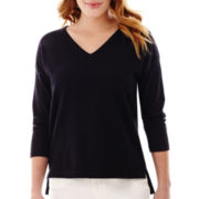 Liz Claiborne® 3/4-Sleeve V-Neck Sweater