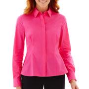 Liz Claiborne® Long-Sleeve Woven Peplum Top