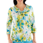 Alfred Dunner® Hint of Lime 3/4-Sleeve Floral Knit Top