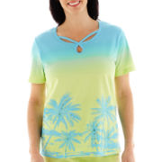 Alfred Dunner® Hint Of Lime Short-Sleeve Scenic Top