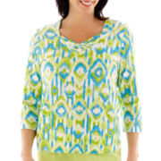 Alfred Dunner® Hint of Lime 3/4-Sleeve Ikat Biadere Knit Top