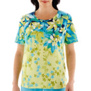 Alfred Dunner® Hint Of Lime Short-Sleeve Falling Leaves Top