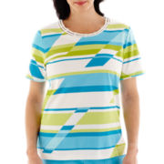 Alfred Dunner® Hint Of Lime Short-Sleeve Broken-Stripe Top