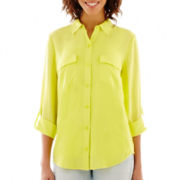 a.n.a® 3/4-Sleeve Roll-Tab Flap-Pocket Shirt