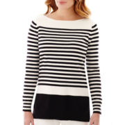 Liz Claiborne® Long-Sleeve Boatneck Striped Tunic Sweater
