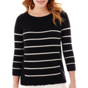 Liz Claiborne® 3/4-Sleeve A-Line Striped Sweater