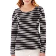 Liz Claiborne® Long-Sleeve Striped Zip-Back Knit Top