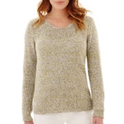 Liz Claiborne® Long-Sleeve Marled Sweater