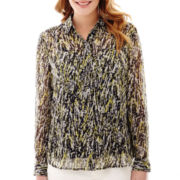 Liz Claiborne® Long-Sleeve Print Blouse with Cami