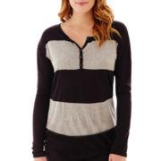 Liz Claiborne® Long-Sleeve Block-Striped Tee