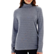 Liz Claiborne® Long-Sleeve Striped Turtleneck Knit Top
