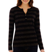 Liz Claiborne Long-Sleeve Metallic-Striped Thermal Top