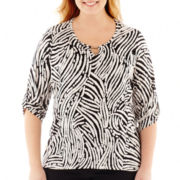 Alyx® 3/4-Sleeve Print Keyhole Top - Plus