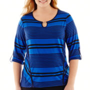 Alyx® 3/4-Sleeve Striped Keyhole Top - Plus