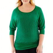 Alyx® 3/4-Sleeve Chevron Lace Overlay Top - Plus