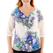 Alyx® 3/4-Sleeve Mixed-Print Peasant Blouse - Plus