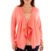 St. John's Bay® Knit Layered Flyaway Cardigan - Plus