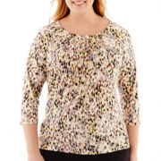 Liz Claiborne® 3/4-Sleeve Pleated Keyhole Print Top - Plus