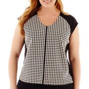Liz Claiborne® Sleeveless Textured Top - Plus