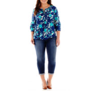 Stylus™ 3/4-Sleeve Peasant Top or Slim Ankle Jeans - Plus