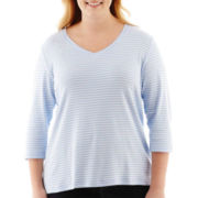 St. John's Bay® Essential 3/4-Sleeve Striped V-Neck Tee - Plus