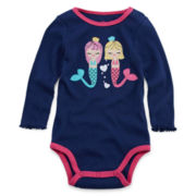 Okie Dokie® Long-Sleeve Appliqué Bodysuit - Girls newborn-9m