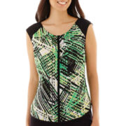 Worthington® Sleeveless Pleat-Neck Blouse - Petite