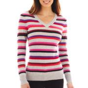 Worthington® Long Sleeve V-Neck Sweater