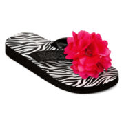 Total Girl® Zera Girls Zebra Print Flip Flops - Little Kids/Big Kids