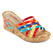 Arizona Girls Rainbow Strap Wedge Sandals - Little Kids/Big Kids