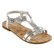 Arizona Spyra Girls Silver Sandals - Little Kids/Big Kids