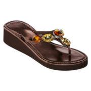 Embellished Wedge Flip Flops