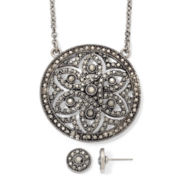 Liz Claiborne Marcasite Medallion Necklace & Button Earrings Boxed Set