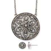 Liz Claiborne® Marcasite Medallion Necklace & Button Earring Boxed Set