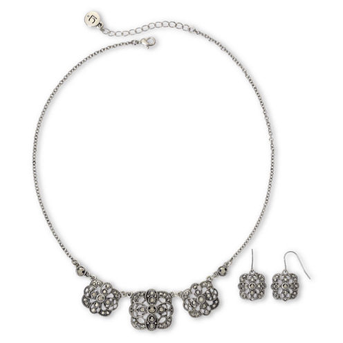 Liz Claiborne Marcasite Square Medallion Necklace & Drop Earrings Boxed Set