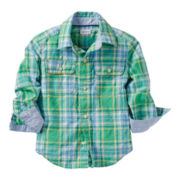 Carter's® Long-Sleeve Green Plaid Shirt - Boys 2t-4t