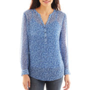 Liz Claiborne Long-Sleeve Split-Neck Henley Top - Petite