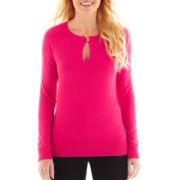 Liz Claiborne Long-Sleeve Keyhole Sweater