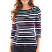 Liz Claiborne Long-Sleeve Ribbed Striped Sweater - Petite