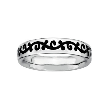 jcpenney.com | Personally Stackable Sterling Silver Black Enamel Vine Ring