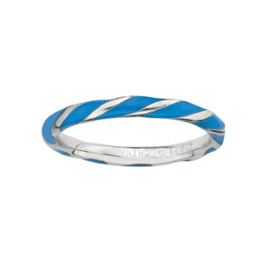 jcpenney.com | Personally Stackable Sterling Silver Blue Enamel Twist Ring