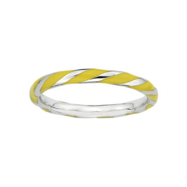 jcpenney.com | Personally Stackable Sterling Silver Yellow Enamel Twist Ring