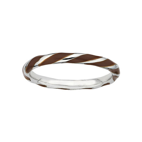 Personally Stackable Sterling Silver Brown Enamel Twist Ring