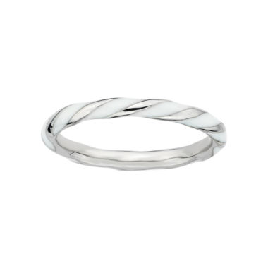 jcpenney.com | Personally Stackable Sterling Silver White Enamel Twist Ring