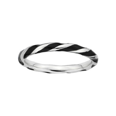 jcpenney.com |  Personally Stackable Sterling Silver Black Enamel Twist Ring