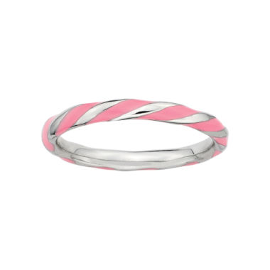 jcpenney.com | Personally Stackable Sterling Silver Pink Enamel Twist Ring