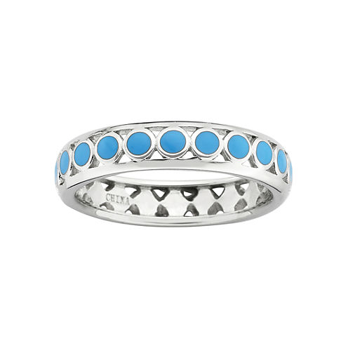 Personally Stackable Sterling Silver Light Blue Enamel Dot Ring